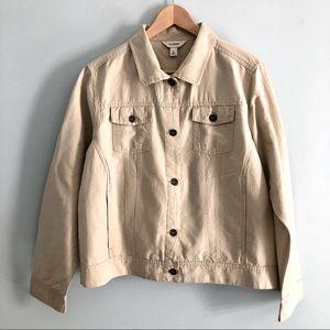 L.L. Bean Cotton Linen Khaki Jacket EUC L